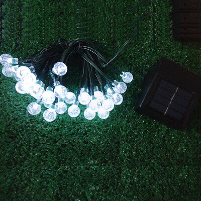30 LED Solar Powered Garden Party Fairy String Crystal Ball Lights Outdoor 9
