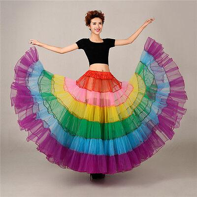 Women's Rainbow Long Petticoat Underskirt Colorful Skirts Slips Net Tutu Dress 4