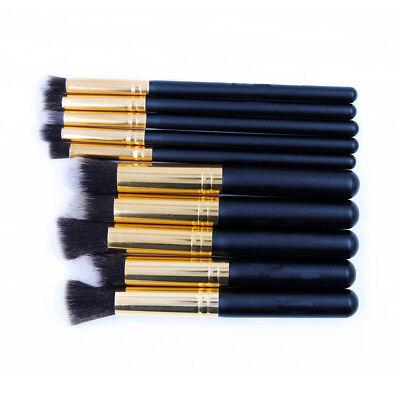 10pcs Pro Makeup Brush Set Cosmetic Foundation Blending Brushes Kabuki Black