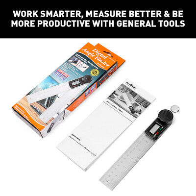"Electronic Digital Angle Finder 8"" Protractor Ruler Stainless LCD With batteries 2"