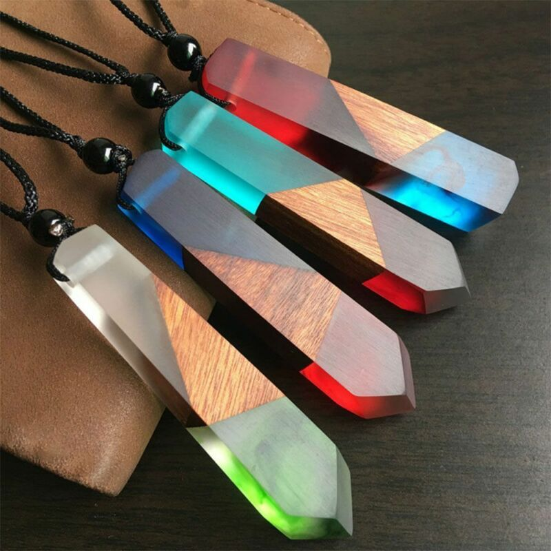 Exquisite Handmade Resin Wood Pendant Necklace Wooden Jewelry For Men Women