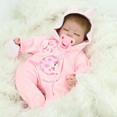 "16"" Sleeping Newborn Vinyl Silicone Reborn Baby Doll Handmade Xmas Gift Girl Toy 7"