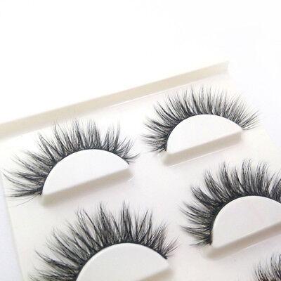 3 Pairs 100% Real 3D Mink Makeup Cross False Eyelashes Eye Lashes Handmade