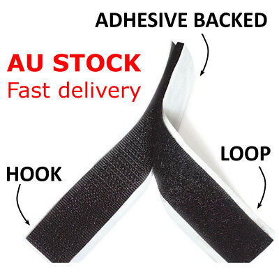 Self Adhesive HOOK and LOOP Fastener Tape Sticky Back Black or White Fastening 3