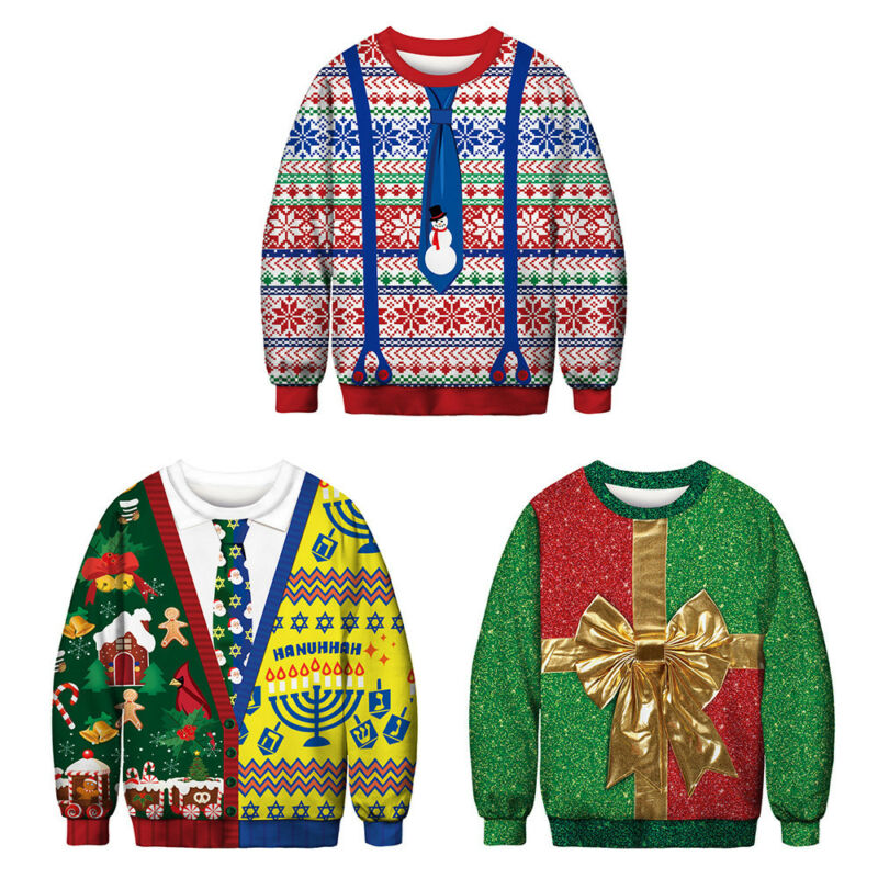 Unisex Ugly Christmas Sweater Santa Xmas Pullover Jumpers Casual Sweatshirt Tops 5