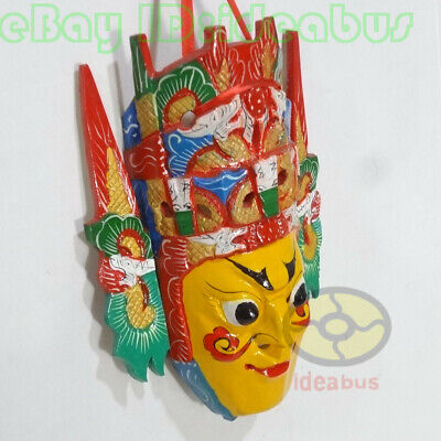 Chinese Folk Art Wood Hand Carved Painted NUO MASK Walldecor - Dixi(local drama) 4