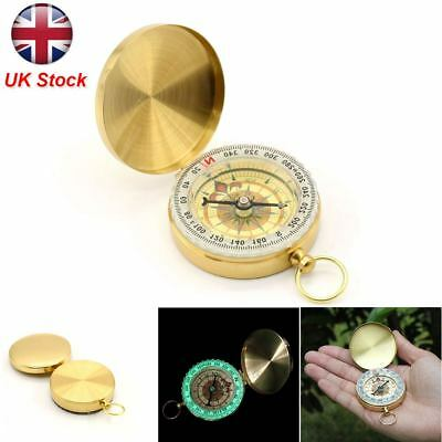Vintage Brass Noctilucent Pocket Compass Hiking Camping Watch Style Retro ONE 4