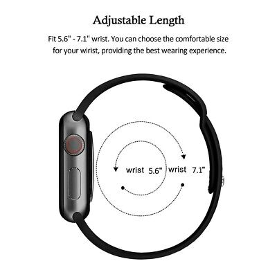 For Apple Watch Series 5/4/3/2 Replacement Silicone Soft Sport iWatch Band Strap 8