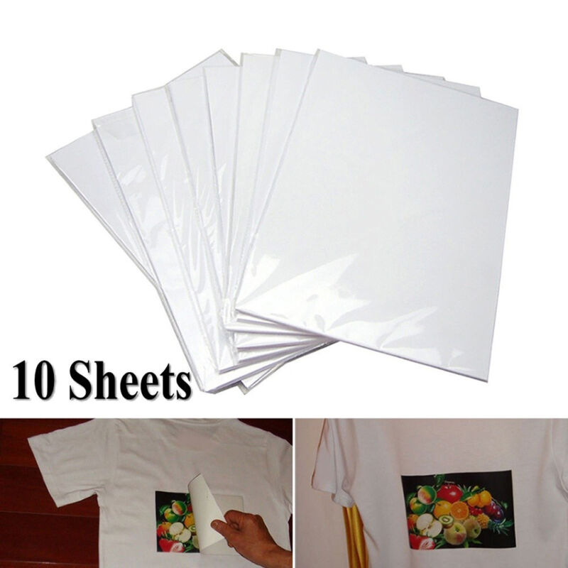 10Pcs A4 Iron On Print Heat Press Transfer Paper Light Fabric T-Shirt UK 3