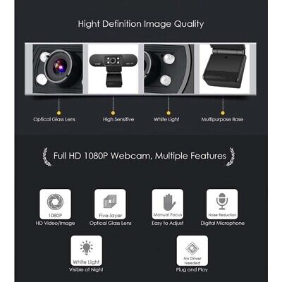 Digital USB Web Cam Camera HD 1080P Video Calling Teleconference Camera For PC 6