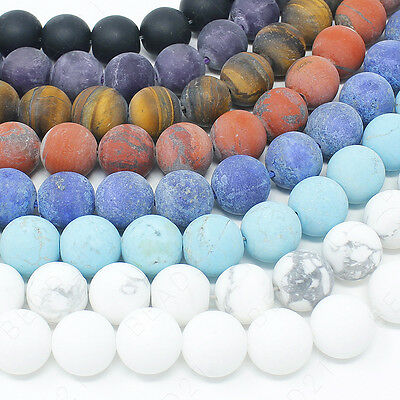 "Matte Natural Gemstone Beads Round Frosted 4mm 6mm 8mm 10mm 12mm 15.5"" Strand 2"
