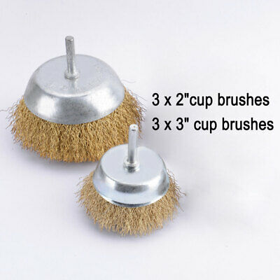 12x Drill Wire Wheel Brush Cup & Flat Crimped Steel Drill Attachment Brushes New 3