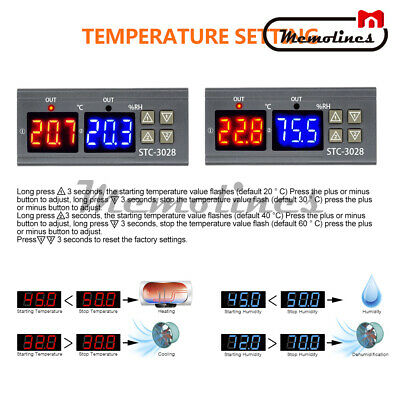 AC110-220V 10A STC-3028 Dual LED Temperature&Humidity Control Thermostat Probe 2