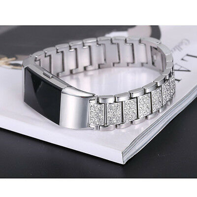 UK Fashion Crystal Stainless Steel Watch Band Wrist Strap For Fitbit charge 2