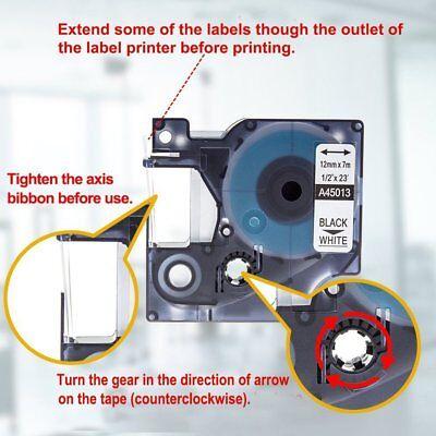 2PK Dymo D1 Label Tape 45013 Black on White Standard Labeling Cartridge Combo