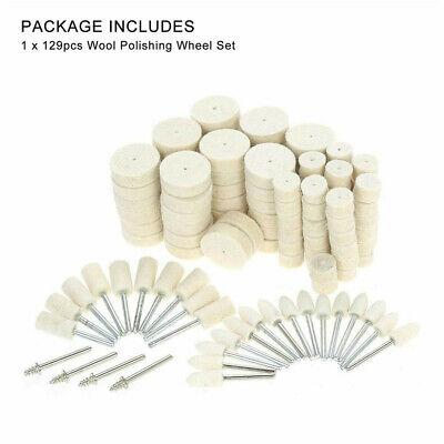 Felt Polishing Buffing Pads Wheel Wool Plastic Dremel Rotary Tool Kit Set 129Pcs 2
