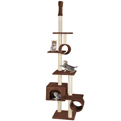 Arbre à chat chats extra géant et douillet griffoir grattoir brun 225-245cm 2