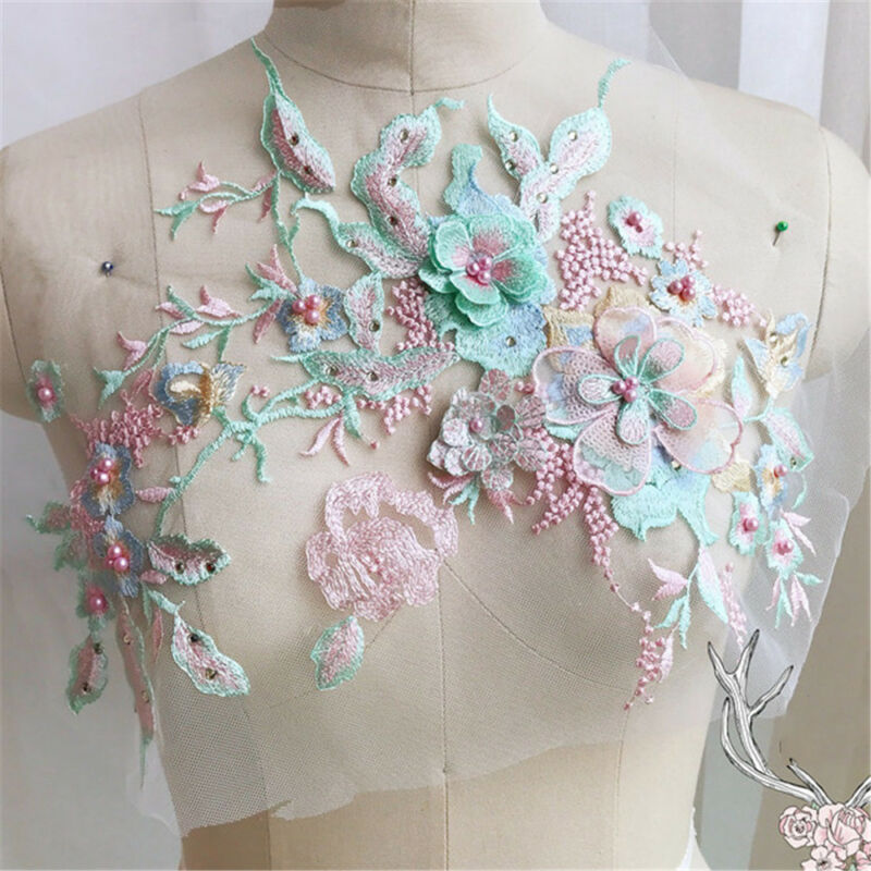 3D Flower Embroidery Lace Bridal Applique Beaded Pearl Tulle DIY Wedding Dress 2