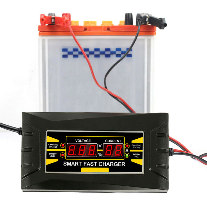 12V 10A Automatic Intelligent Smart Car Battery Charger Lead Acid GEL LCD 4
