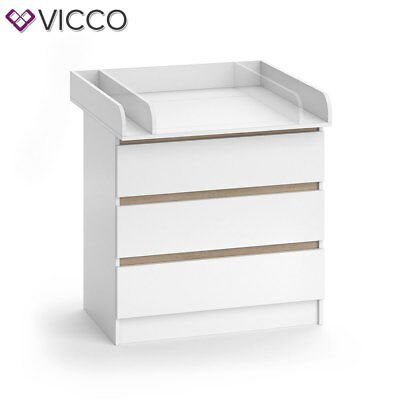 VICCO Wickelkommode Emma - Baby Wickeltisch Kommode mit 3 Schubladen Weiß Sonoma 10