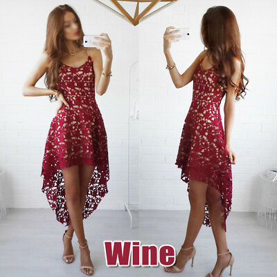 Women Sleeveless Lace Dress Bridesmaid Wedding Party Cocktail Mini Sling Dress