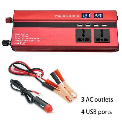 1500/6000W Caravan Power Inverter DC 12V to AC 220V Converter 4 USB 3 Socket UK 8