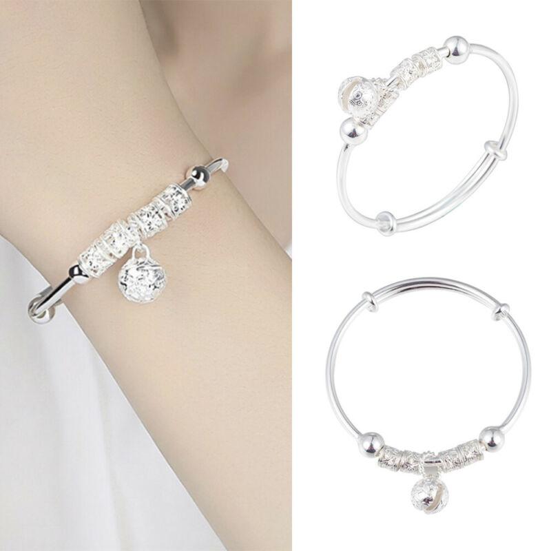 Fashion Women Jewelry 925 Sterling Silver Plated Cuff Bracelet Charm Bangle Gift 6