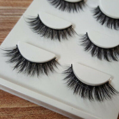 3 Pairs 100% Real 3D Mink Makeup Cross False Eyelashes Eye Lashes Handmade 3