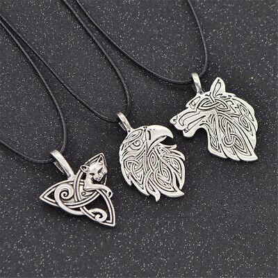 Men Nordic Viking Mjolnir Pendant Leather Cord Myth Thor's Hammer Norse Necklace 12
