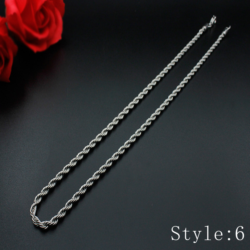 Gift Man Women Fashion 316L Stainless Steel 2mm-5mm Silver Chain Necklace 7