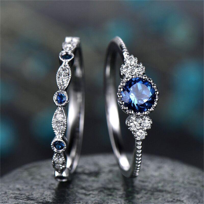 Fashion 925 Silver  Round Cut Sapphire Women Wedding Ring Jewelry Size 6-10 2
