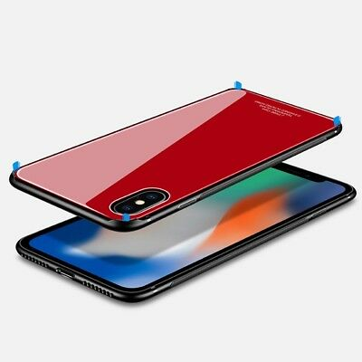 iPhone X XS MAX XR 7 8 Plus Slim Thin Bumper Case Cover Tempered Glass For Apple 8