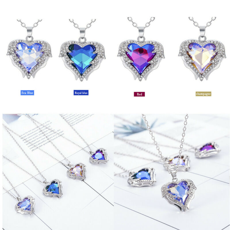 925 Silver Angel Wing Necklace Heart Rhinestone Crystal Chain Pendant Jewelry 10