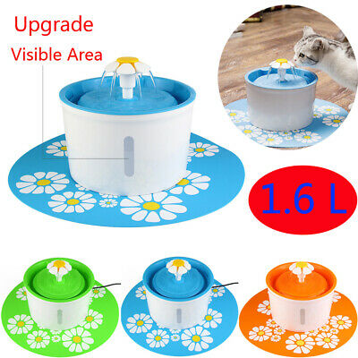 Automatic Cat Dog Water Drinking Flower Fountain Pet Bowl Drink Dish Filter New 2
