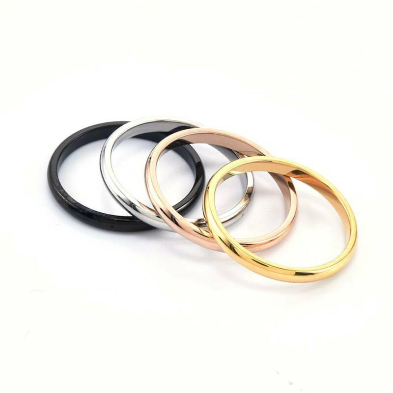 2mm Thin Stackable Ring Stainless Steel Plain Band for Women Girl Size 6-9 1PC 7