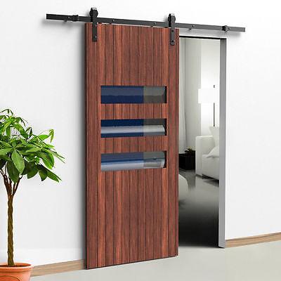 5.5 FT Black Carbon Steel Sliding Barn Door Hardware Track Rail Kit Wall Mount 5