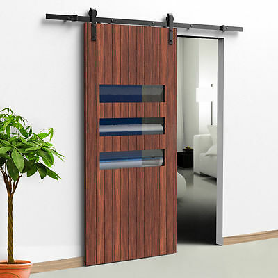 5.5 FT Country Rustic Style Steel Sliding Barn Wood Door Hardware Track Closet 4