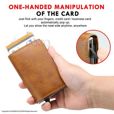 RFID Blocking Leather Credit Card Holder Case Money cash Wallet Clip Purse OZ 6