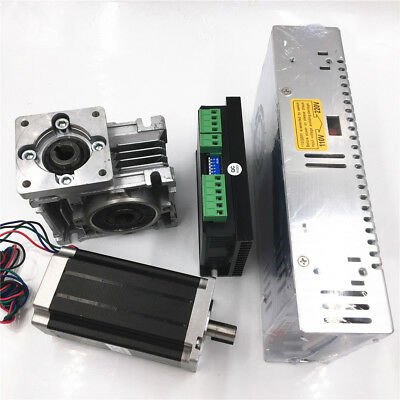 3NM Stepper Motor NEMA23 Drive Kit L112mm Worm Gear Reducer30:1&Power Supply CNC 8