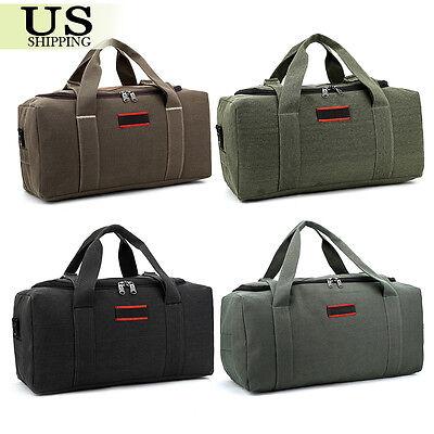 Men's Military Canvas Leather Gym Duffle Shoulder Bag Travel Luggage Handbag 6