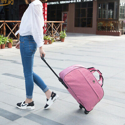 Women Rolling Wheeled Duffle Trolley Bag Tote Carry On Travel Suitcase Luggage 3