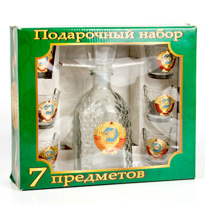 6 Shot Glasses and Glass Decanter w/ USSR Soviet Coat of Arms GIFT SET FOR MEN 4