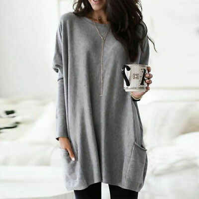 Womens Long Sleeve Baggy Tunic Tops Ladies Loose Jumper Pullover Blouse Jersey 6