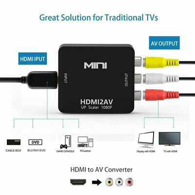 HDMI To AV Adapter Converter Cable CVBS 3RCA 1080P Composite Video Audio For TV 6