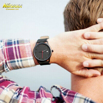 Men's Fashion Sport Stainless Steel Case Leather Band Quartz Analog Casual Watch 12
