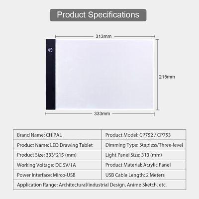 Tableta Gráfica Electrónica A4 De Dibujo De Arte Digital USB Luz LED 3 Niveles 8