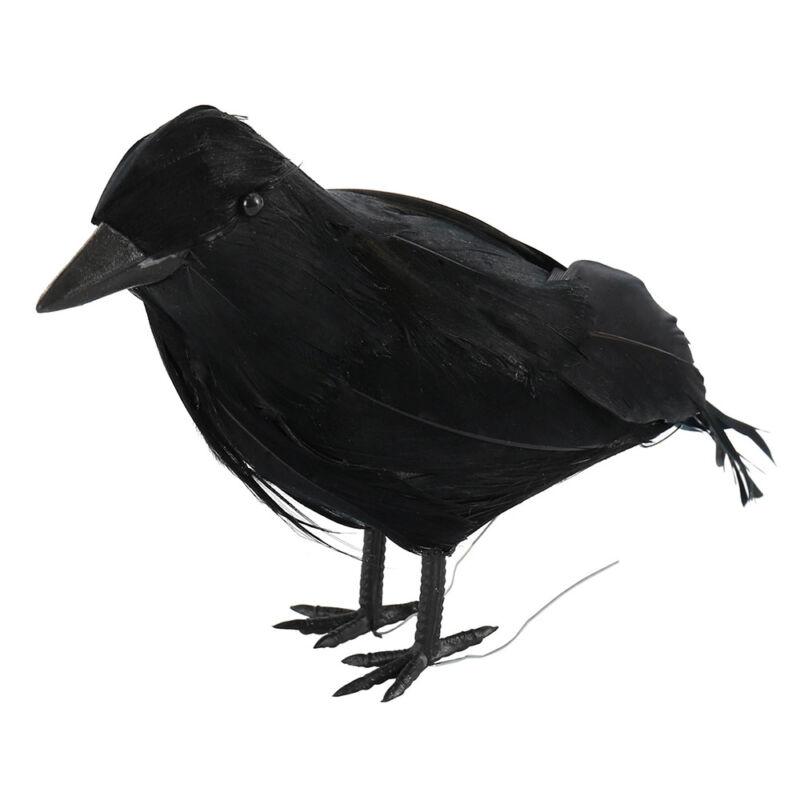 Black Lifesize Raven Movie Prop Fake Crow Halloween Fake Bird Hunting Decor EN 2