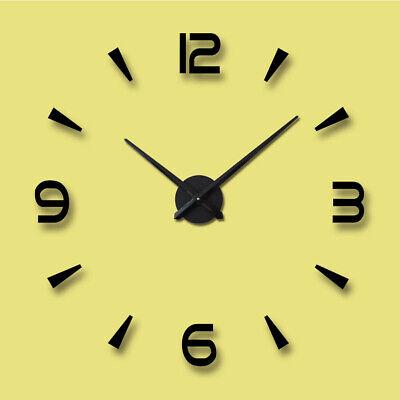 3D Large Wall Clock Frameless Mirror Number Sticker Modern Art Decal Decor UK 5