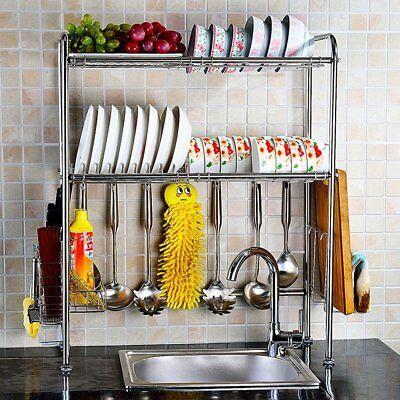 Stainless Steel Dish Rack Over Sink Bowl Shelf Organizer Nonslip Cutlery Holder 2