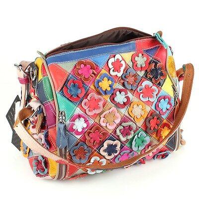 5b4033ac86087 Leder Hand Umhänge Tasche Shopper Patchwork Blumen Bunt Vintage Geblümt 7